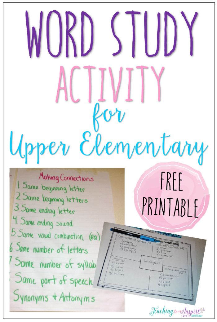 Word study activity for upper elementary word study free read this post to read about a word study activity for upper elementary and grab the free printable to have your students complete the activity fandeluxe Choice Image