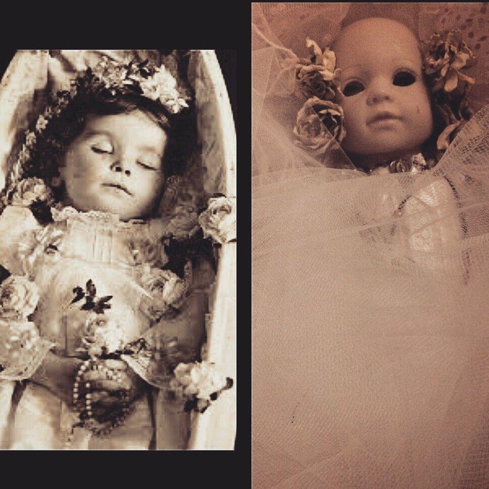 Creepy Doll Inside A Coffin Horror Victorian Dead Baby