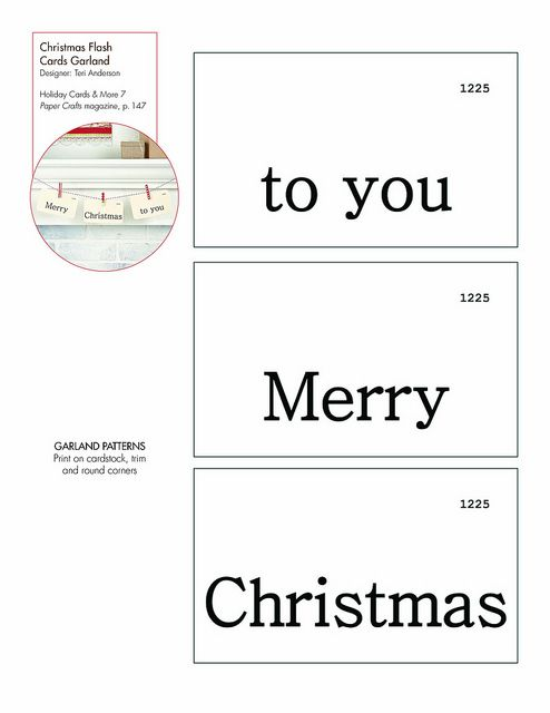 Christmas Flash Cards Garland Free PatternTemplate Downloadable