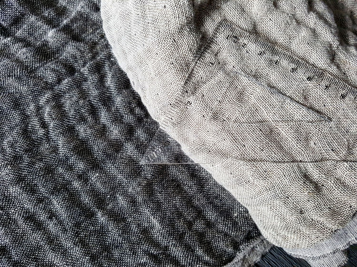 Double sided soft linen fabric by the meter, beige black