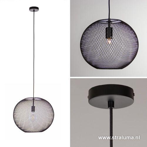 Zwarte hanglamp bol van gaas - www.straluma.nl | verlichting ...