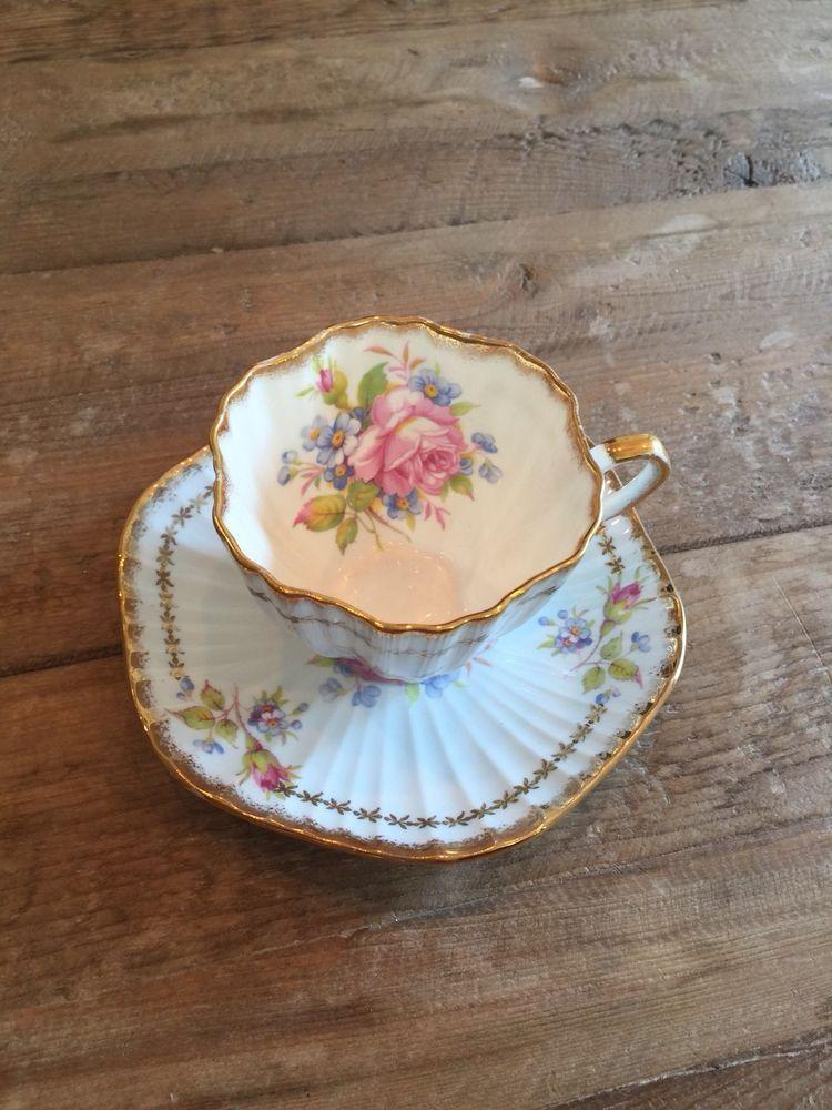 Vintage EB Foley Bone China Ruffled Tea Cup & Saucer~ Pink/Blue ...