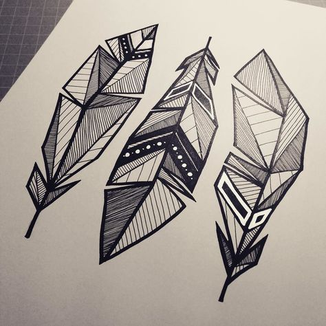 Scarecrow and ocean on instagram feather feathers geometrical drawing art artwork black silver blackwork artist design tattoo tattoodesign