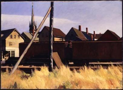 Edward Hopper, Freight Cars, Gloucester, 1928. Oil on Canvas
