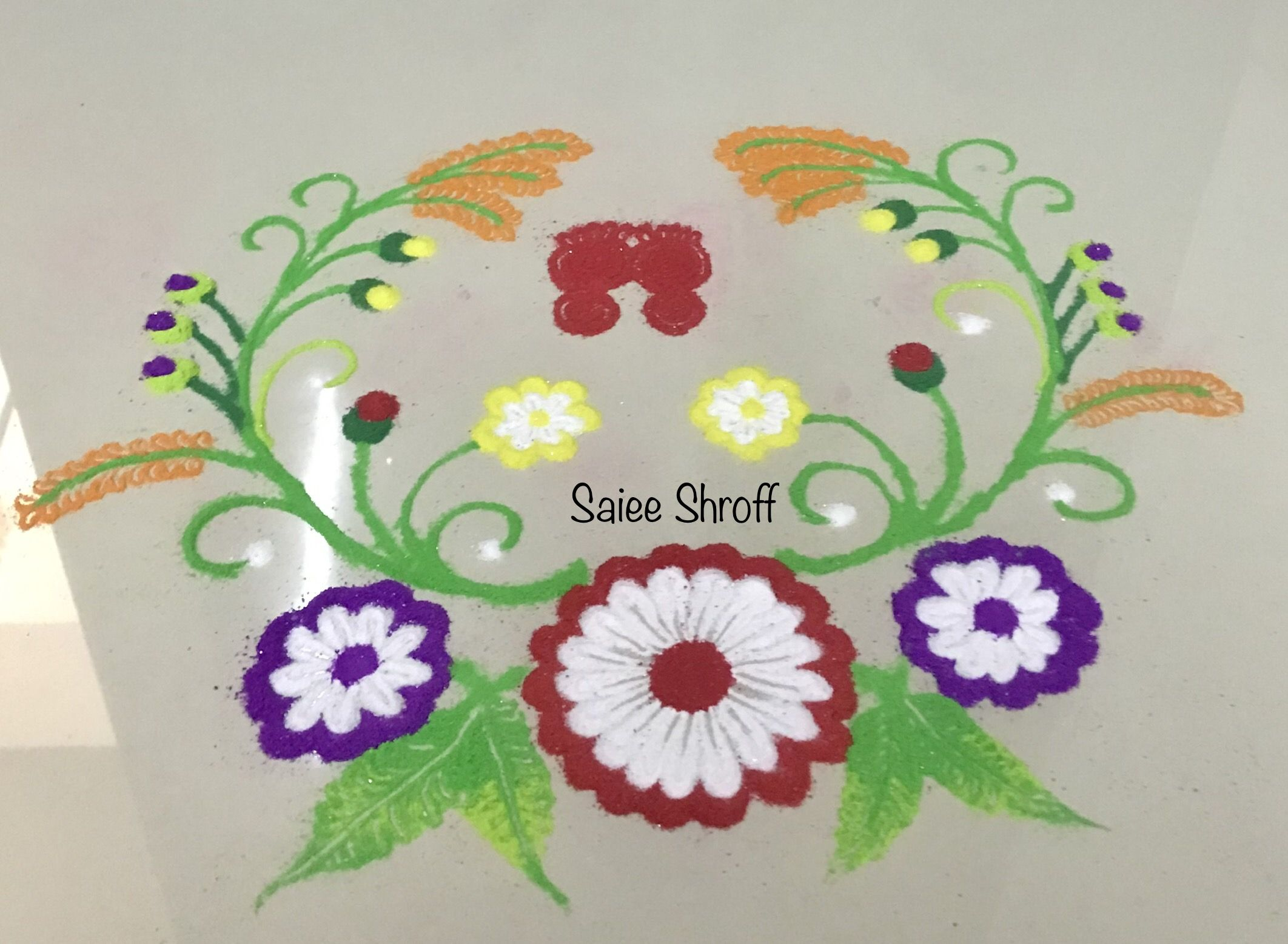 Small quick and easy everyday rangoli design for beginners