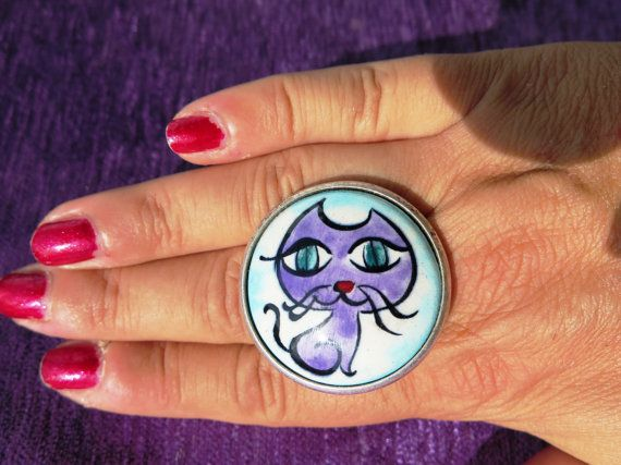 Hand Made Ceramics Enamel Painted Cat Ring by cutesycat on Etsy