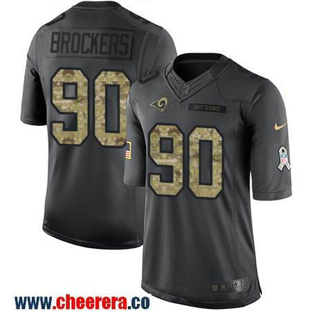 Men's Los Angeles Rams #90 Michael Brockers Black Anthracite 2016 Salute To Service Stitched NFL Nike Limited Jersey