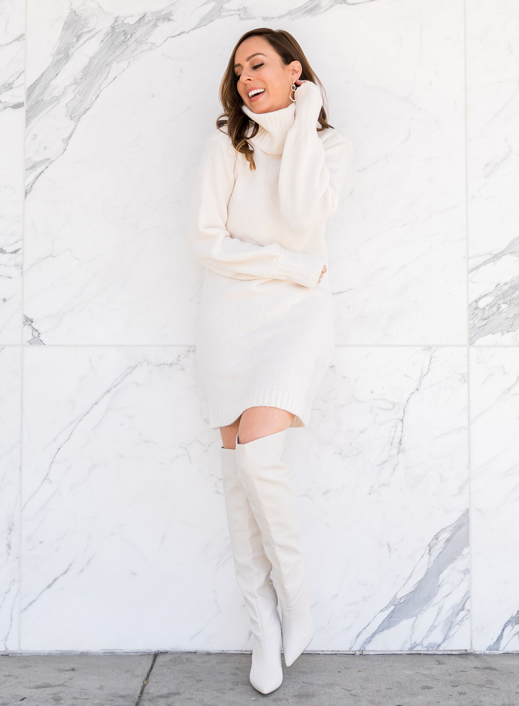 c5fabdb2ce04 Sydne Style shows how to wear over the knee boots with a sweater dress for  winter outfit ideas  winterwhite  otkboots  boots  white  marble   sweaterdress   ...