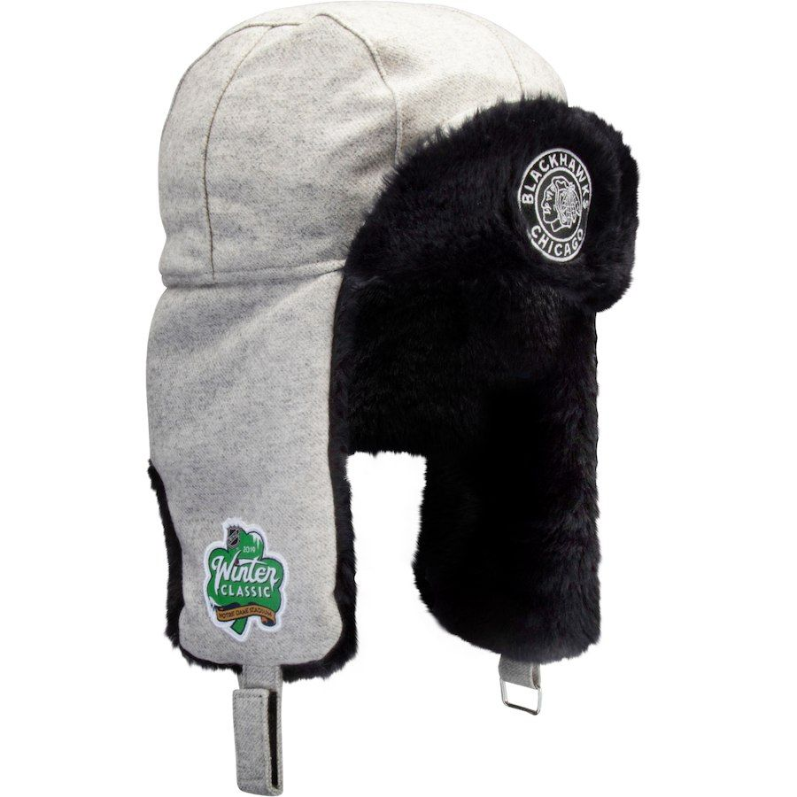 73d684dcf3c Men s Chicago Blackhawks Fanatics Branded Gray 2019 Winter Classic Trapper  Knit Hat