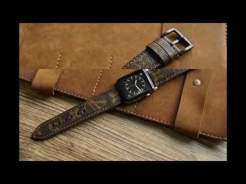 Louis Vuitton Leather Watch Strap for Panerai or Apple Watch 1 and 2 (38...