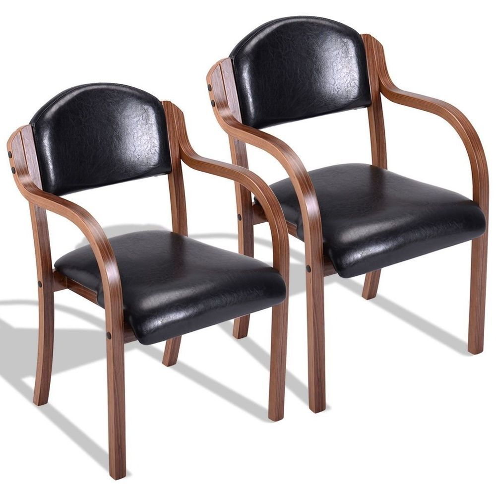 Set Of 2 Elegant Black Leather Dining Room Chairs Home Furniture Prepossessing Leather Dining Room Sets Design Ideas