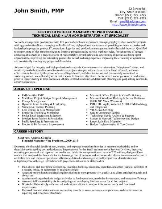 It Project Manager Resume Template [ Project Managers Resume ]  Technical Lead Resume