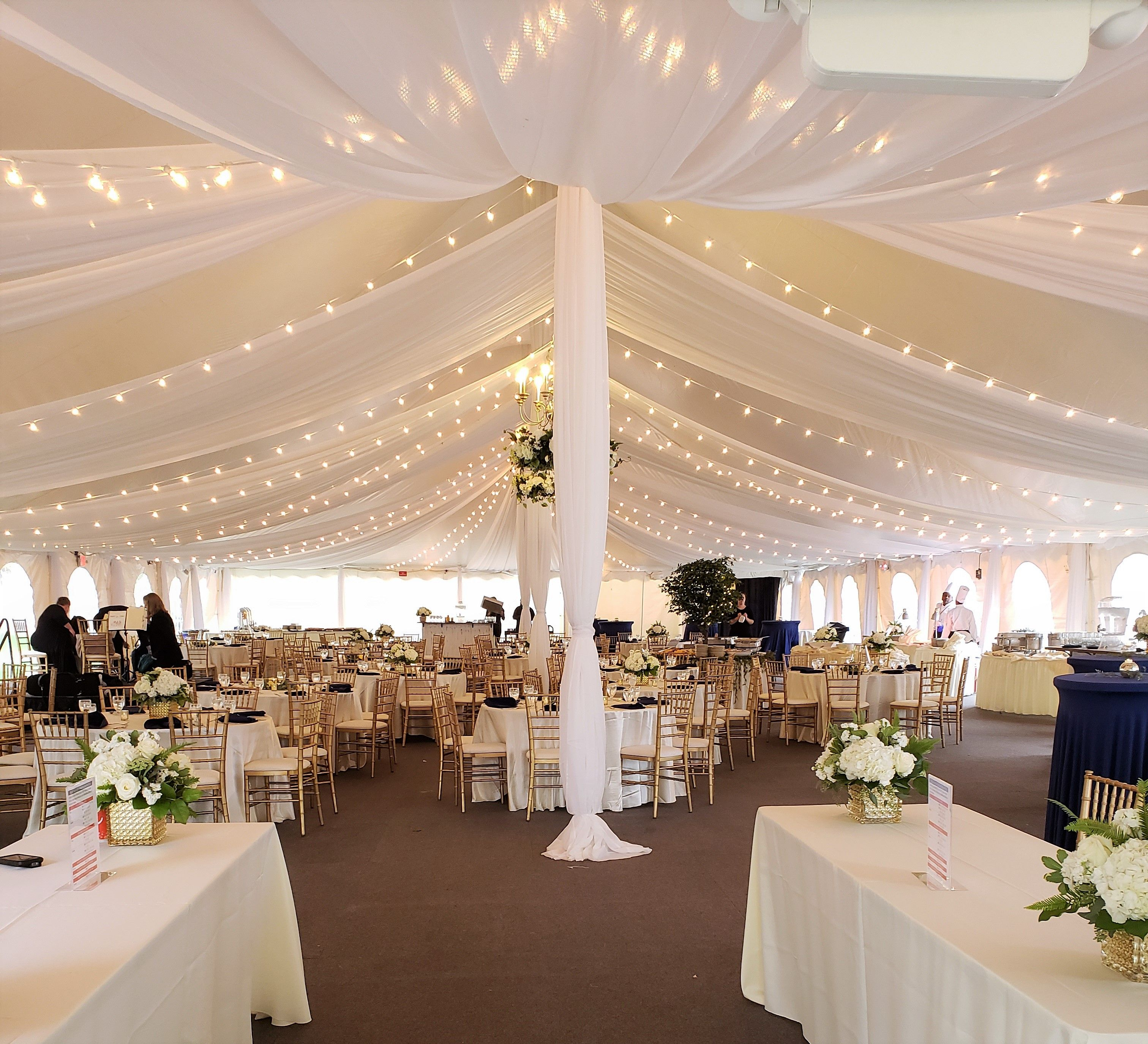 Tent Draping With Bistro Lights In A Stake And Pole Tent Wedding Tent Draping Tent Decorations Ceiling Draping