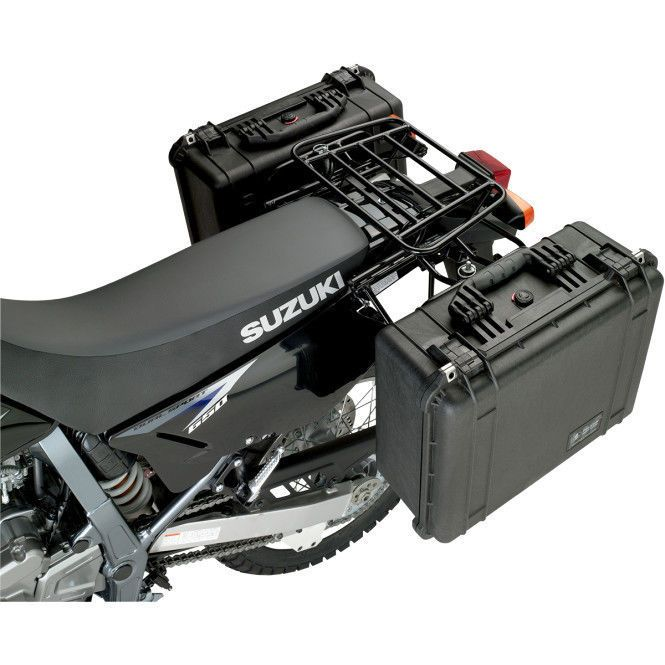 92 07 Yamaha Xt225 Expedition Rear Luggage Rack System With Small Pelican Cases Luggage Rack Motorcycle Luggage Motorcycle Luggage Rack
