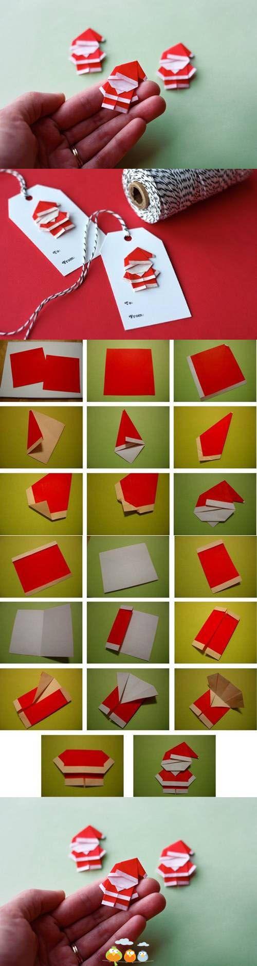 Santa Claus Origami para etiquetas
