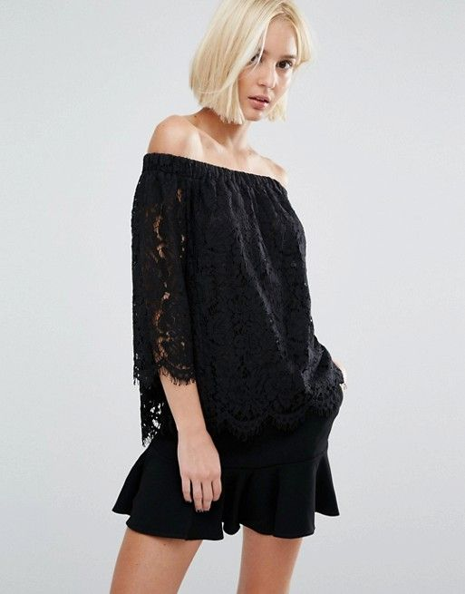 85abfd047c7c0 Whistles Darcie Lace Bardot Top