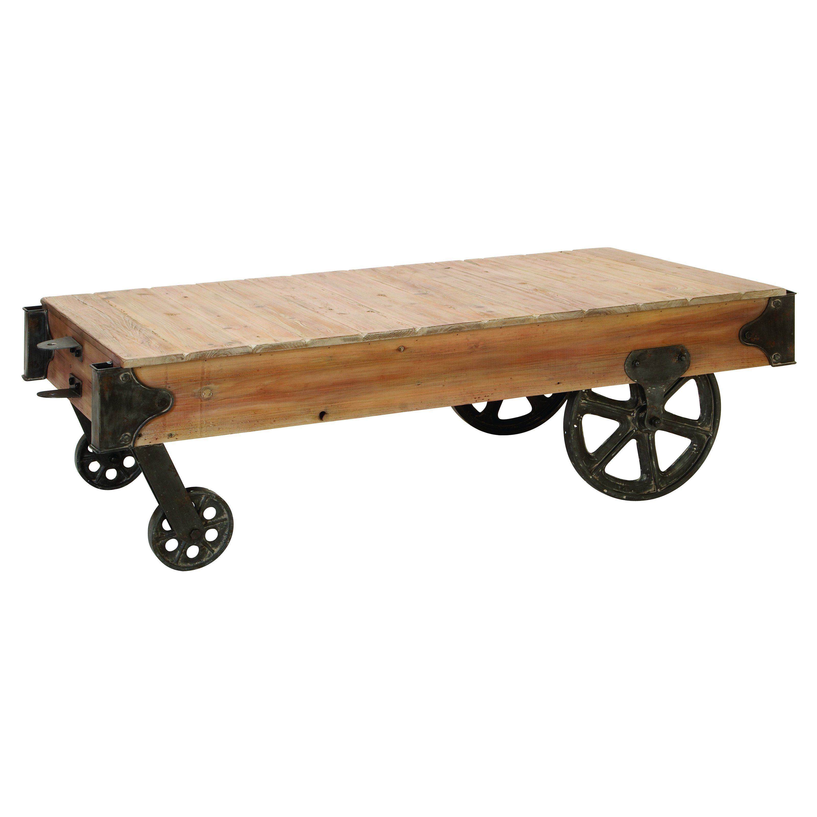 Benzara Wood Cart Coffee Table   Inspired By Pieces In An Industrial  Warehouse, This Benzara
