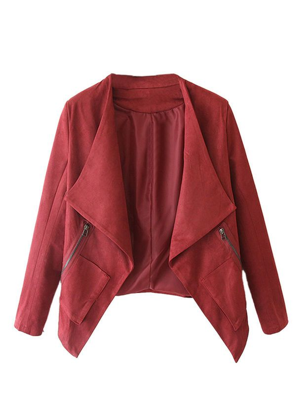 Wine Red Faux Suede Long Sleeve Slim Blazer