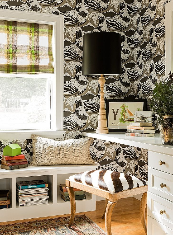 Eclectic Suburban Home by Hudson Interior Design. Great Wave wallpaper by Cole & Son