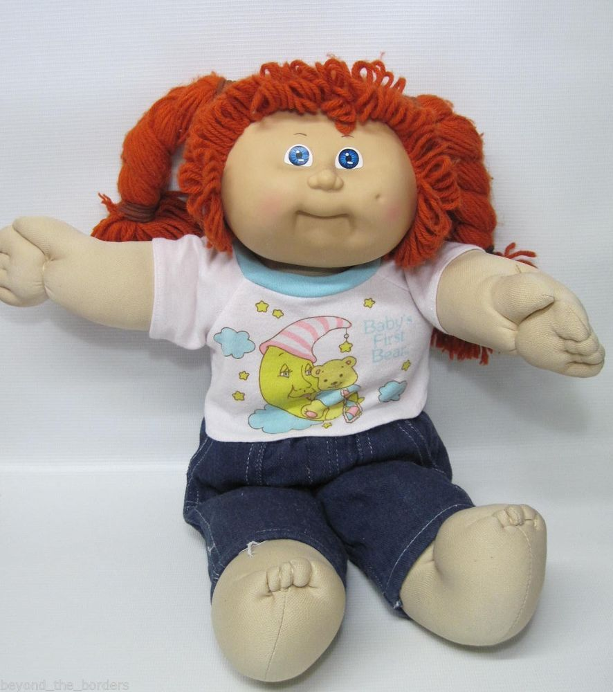 Cabbage Patch Kid Red Hair Girl in T-Shirt & Jeans Vintage CPK Blue Eyes