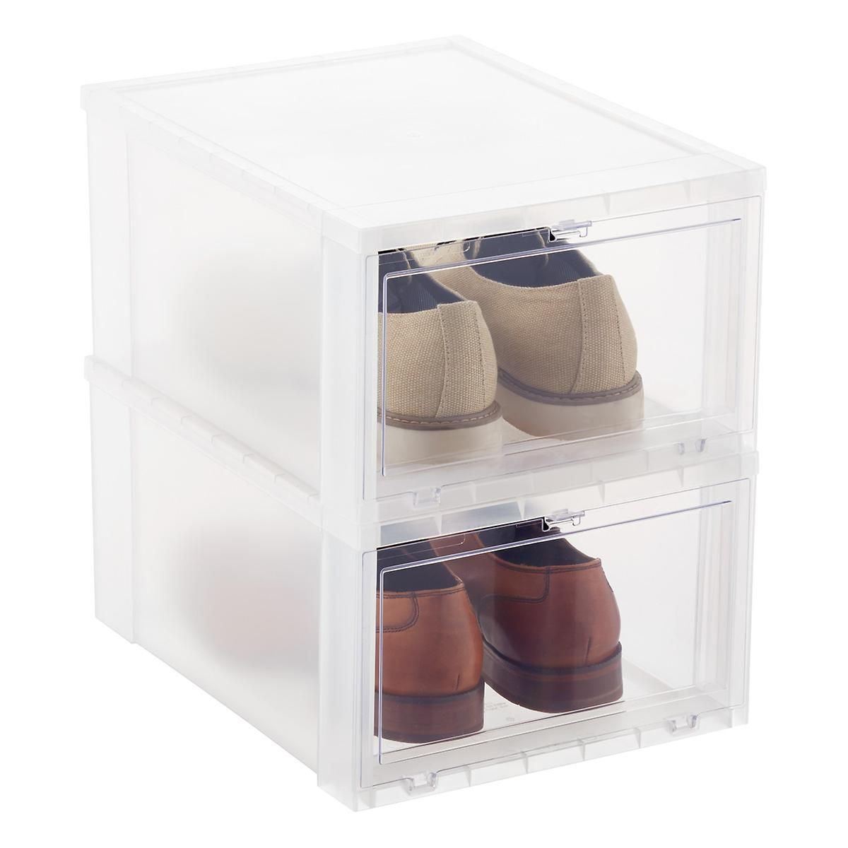 The Clear Window Of Our Drop Front Shoe Box Lets You