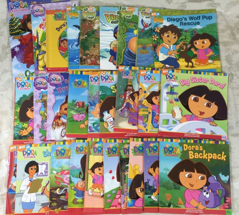 Lot of 28 Dora the Explorer Diego Nick Jr Books Stickers Nickelodeon ...