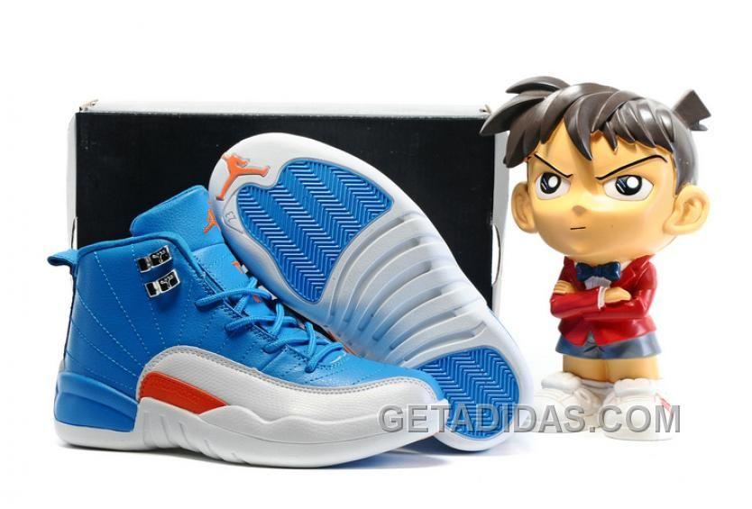 Kids Air Jordan 12 Blue White Orange 2016 Shoes