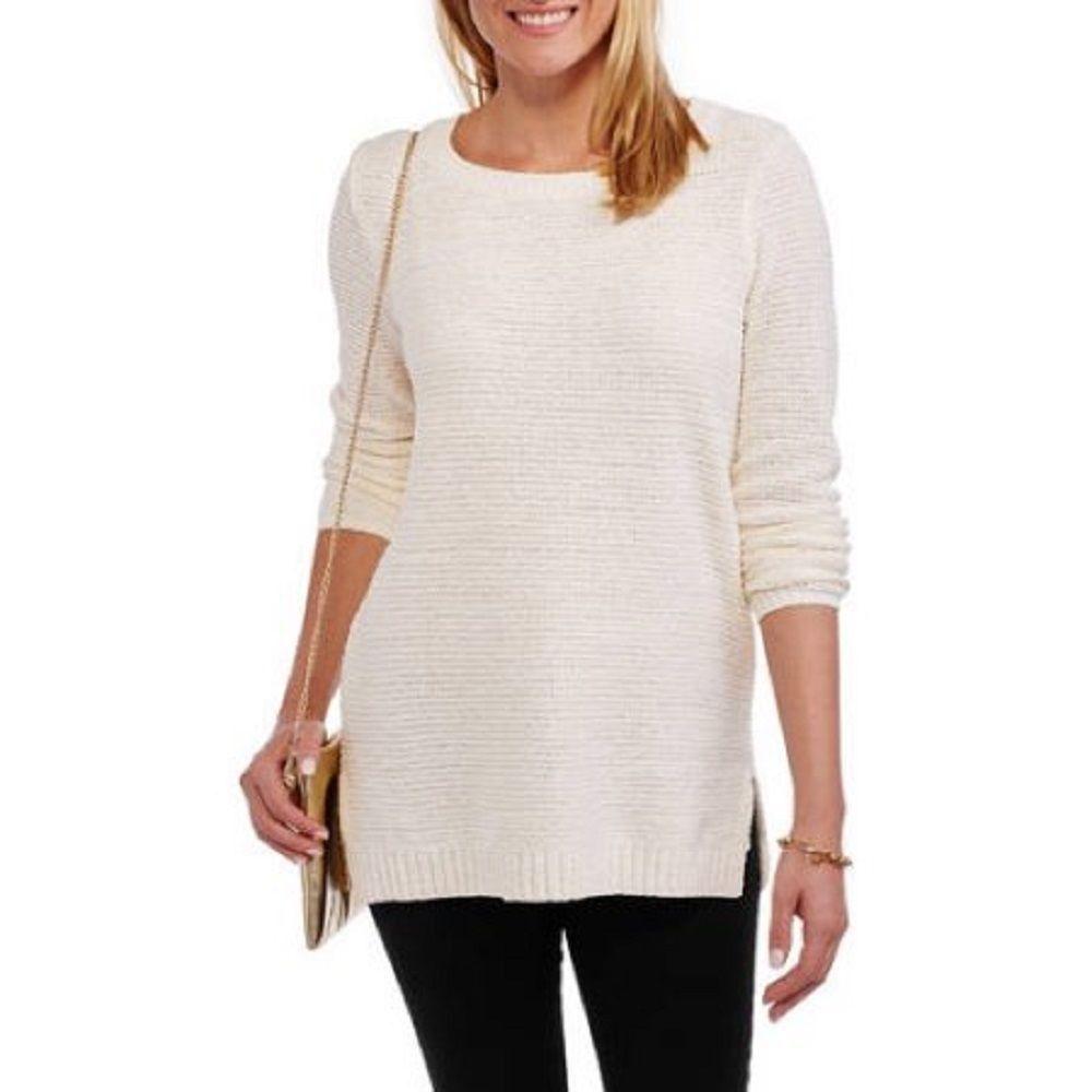 Faded Glory Women's Chenille Tunic Sweater, Tusk, X-Large