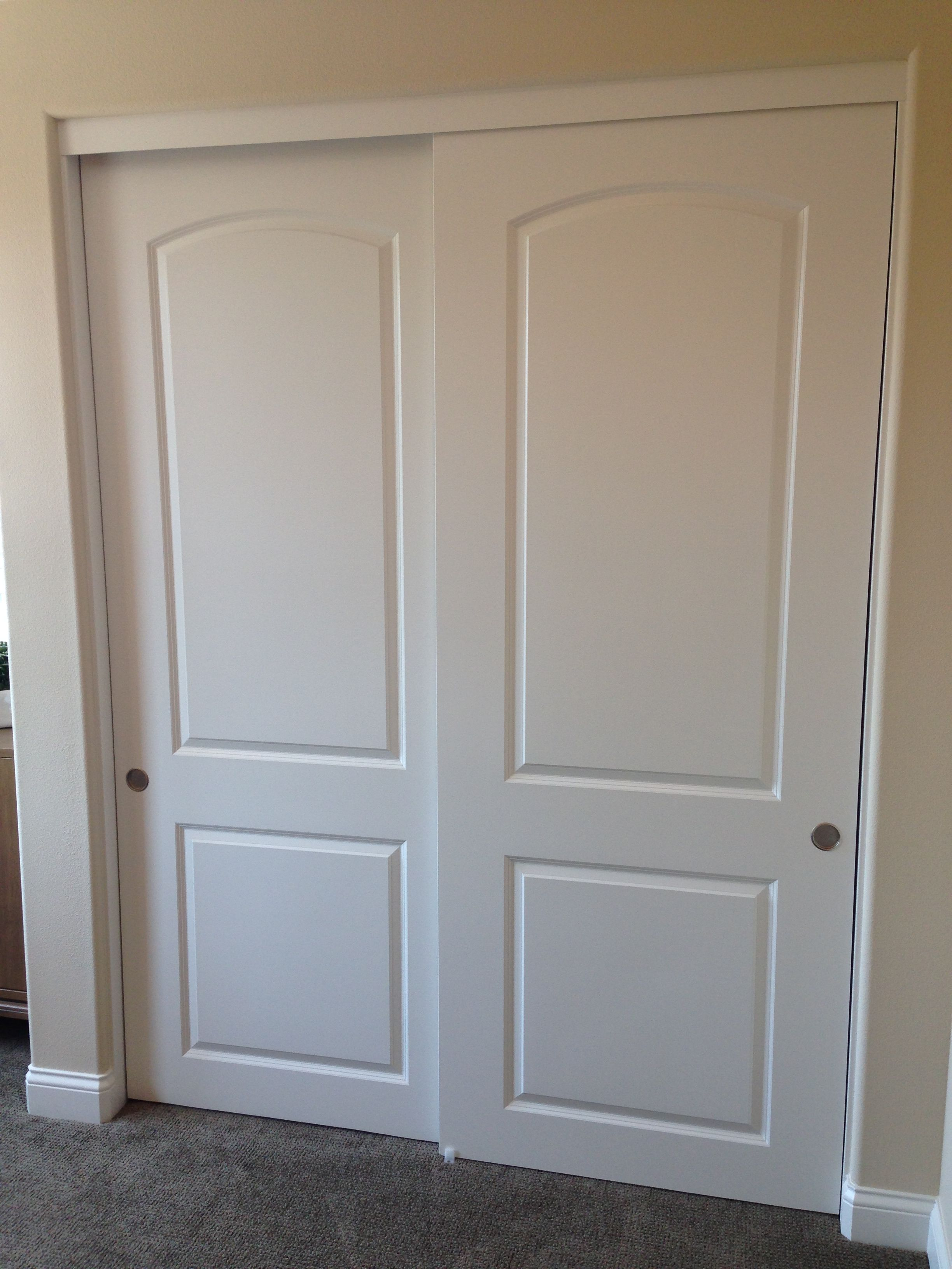 2 Panel Track Hollow Core Mdf Byp Sliding Closet Doors With J Includes Brushed Silver Finger Pulls And Floor Guide