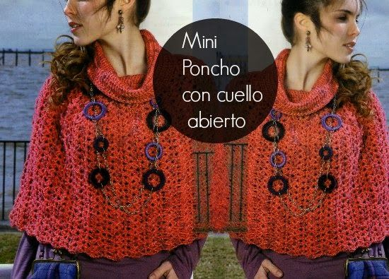 Mini Poncho con cuello abierto   2   Pinterest   Ponchos ...