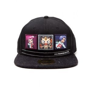 bb166bf3154  17.67 Pokemon Team Rocket Snapback Baseball Cap - Dark Grey Black ...