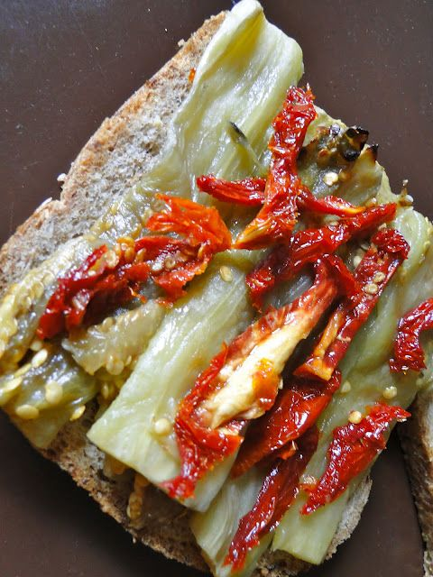 Grilled 'cheese' eggplant sandwhich