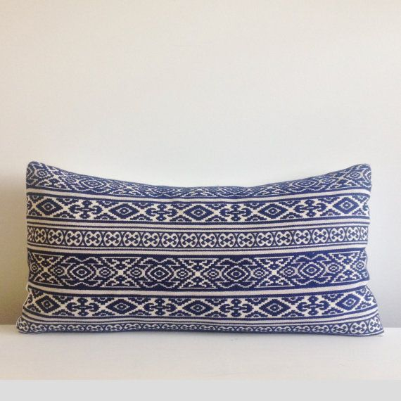 12X20 Pillow Insert Entrancing Navy Embroidered Lumbar Pillow Cover Lumbar Decorative Throw Pillow Design Ideas