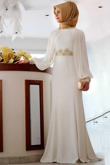 f9ac4d857b78b Gamze Polat Ekru Kuğu Güpür Abiye Elbise | Islamic dress | Elbiseler ...
