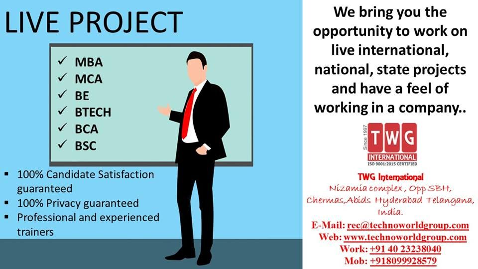 LIVEPROJECT MBA MCA BE BTECH BCA BSC We bring you