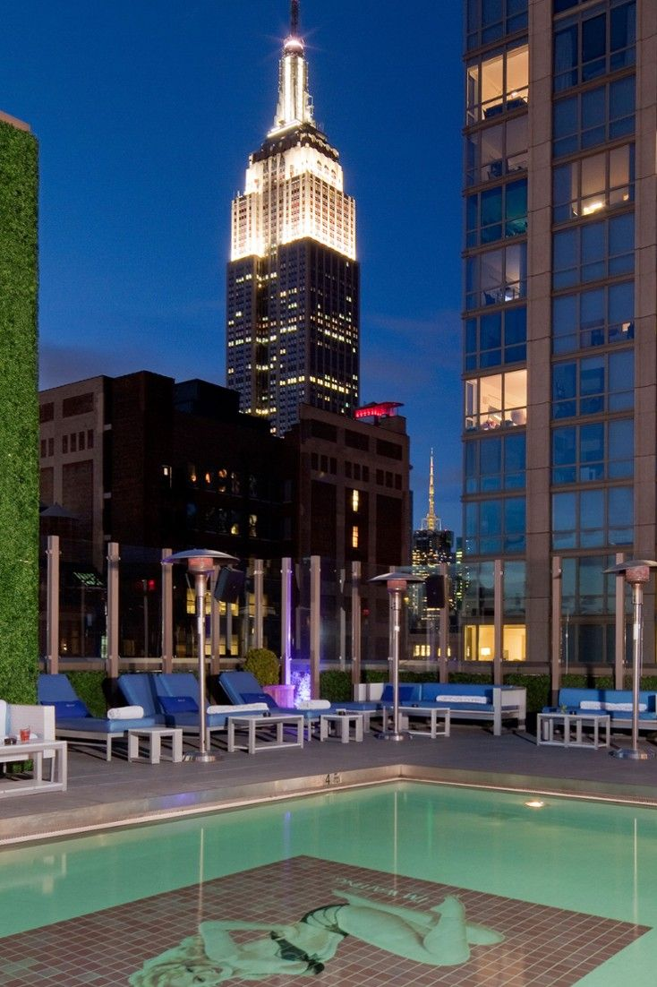 The Gansevoort's Rooftop Bar features New York City's only indoor-outdoor heated rooftop pool. #Jetsetter