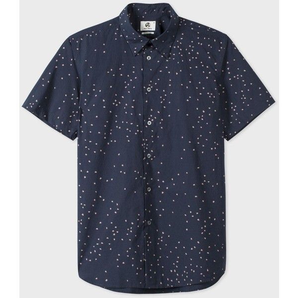 Paul Smith Men's Navy 'Hearts' Print Short-Sleeve Shirt ($135) ❤ liked on Polyvore featuring men's fashion, men's clothing, men's shirts, men's casual shirts, mens casual short-sleeve button-down shirts, mens cotton short sleeve shirts, mens cotton shirts, mens navy blue shirt and mens slim shirts