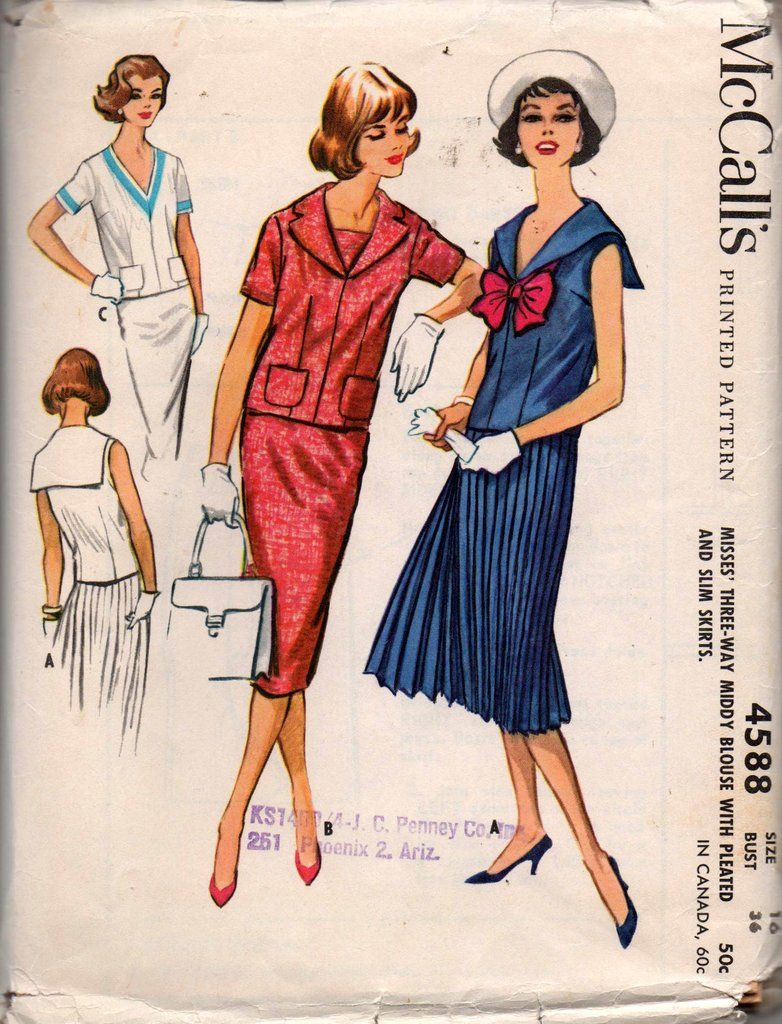 McCall s 4588 Womens Middy Sailor Top   Skirt 50s Vintage Sewing Pattern  Size 16 Bust 36 Inches UNCUT 1177cd0aca