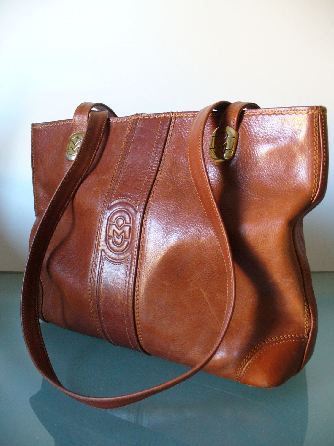 Made in Italy Marino Orlandi Cognac Leather Tote Bag by EurotrashItaly on  Etsy 85ee922c67f09
