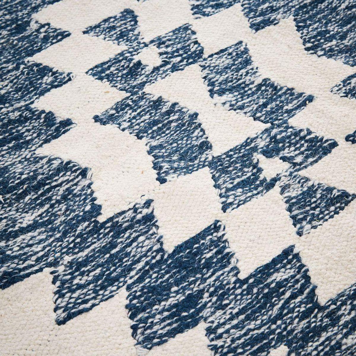 Palmette Chenille Wool Kilim Rug - Midnight   west elm AU