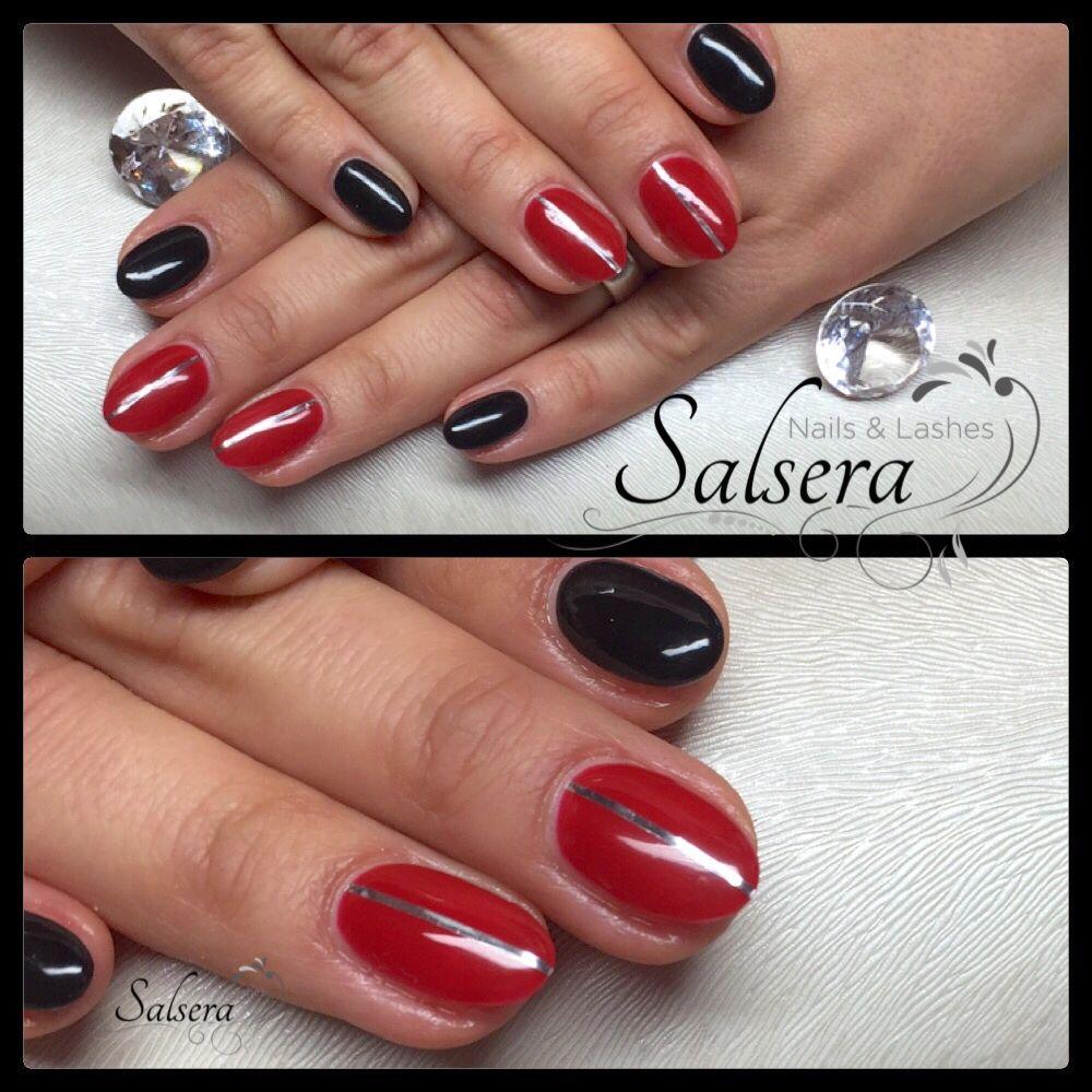Nails, Nägel, Fullcover, rot, schwarz, stripes, rund, kurz ...