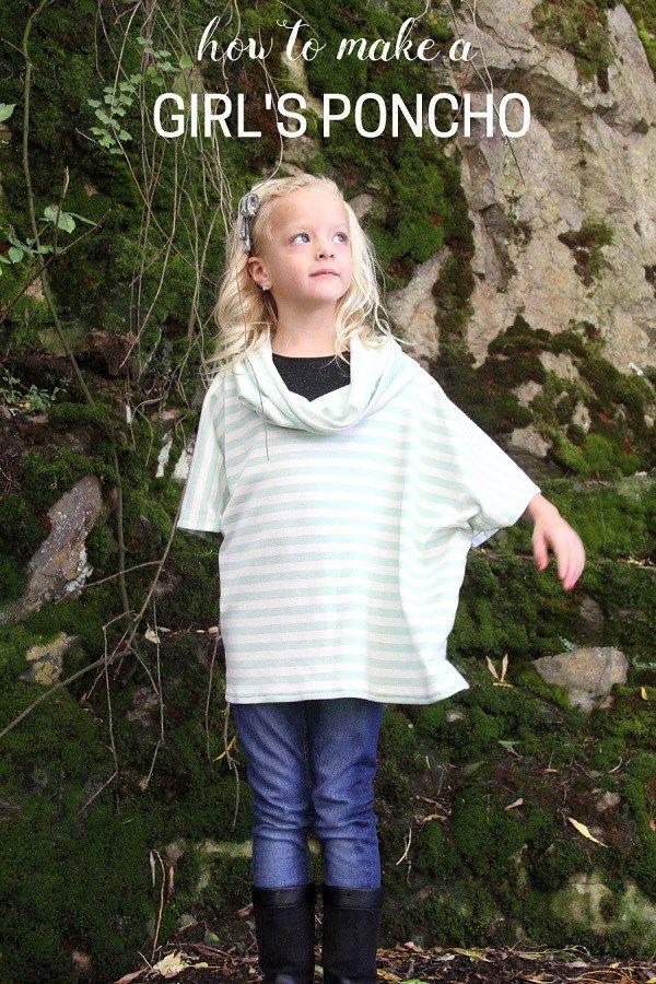 Tutorial: Girls cowl neck poncho | Easy Crafts | Pinterest | Nähen