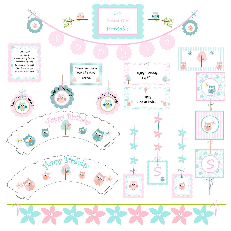 Diy printable pastel owl party decorations for birthdays