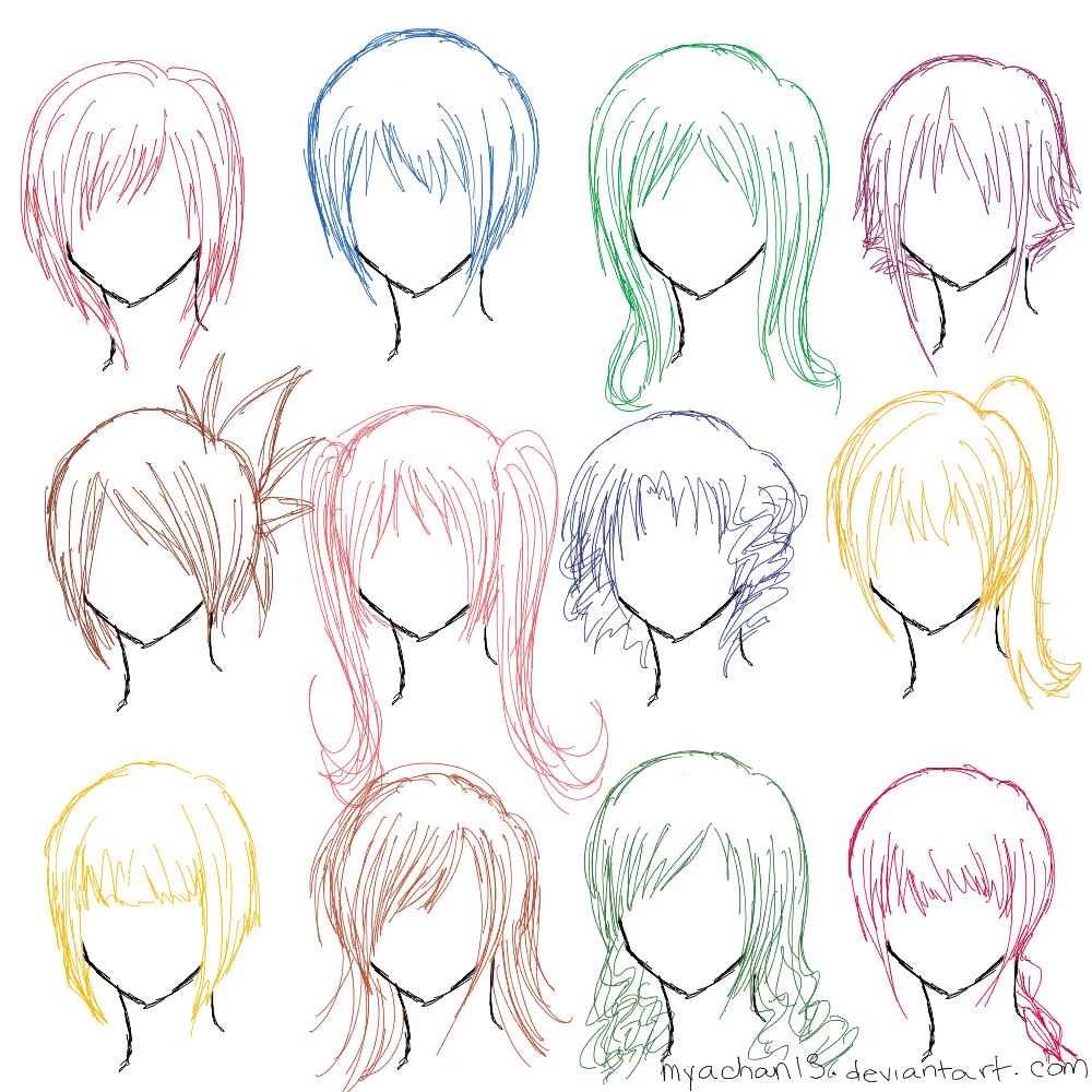 Hair Ref 12 Hairstyles By Myachan13 On Deviantart Manga Hair Anime Hair Female Anime Hairstyles