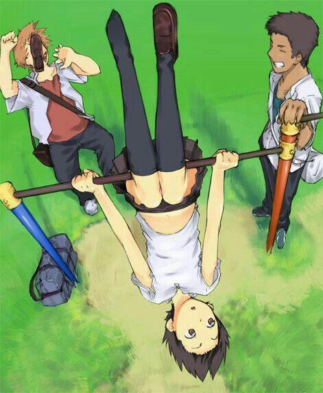 Chiaki Makoto Kousuke Text Funny Hanging Upside Down Shoe The Girl Who Leapt Through Time Anime Films Anime Anime Movies