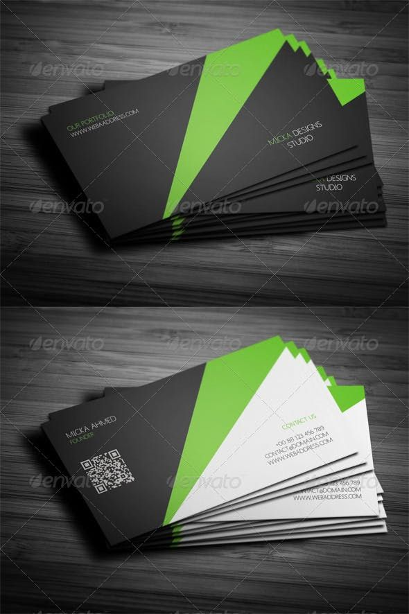 Corporate Business Card Design 03 Photoshop Psd Black Green