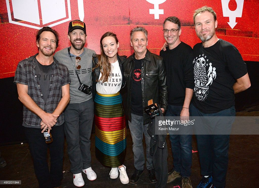 Eddie Vedder, Mike McCready, Stone Gossard and Jeff Ament attend 2015 Global Citizen Festival in Central Park on September 26, 2015 in New York City.