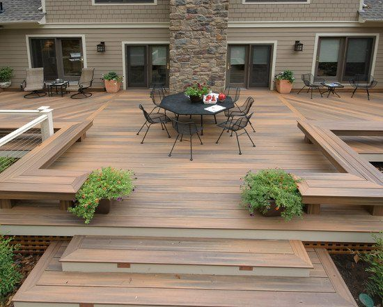 Landscape design ideas large wooden deck and dining area for Garden design decking areas