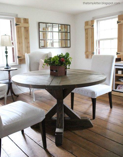 DIY X Base Circular Dining Table - Jaime Costiglio #anawhite