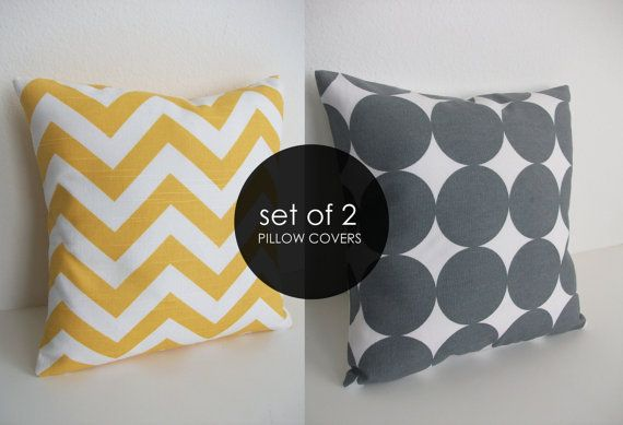 Best Yellow Chevron 16X16 Gray Dot Pillow Set Etsy Skoope 20 400 x 300